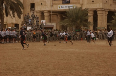 A game of soccer at FOB Prosperity in Iraq