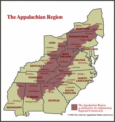 Map of the Appalachian Region