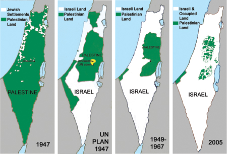 four maps of shrinking Palestine