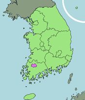 Map of Kwangju, South Korea