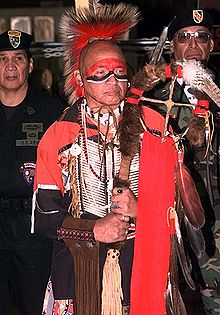 An Abenaki in traditional clothing