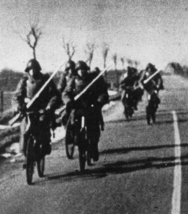 Danish soldiers cycling to the frontline during the German invasion of Denmark (1940)