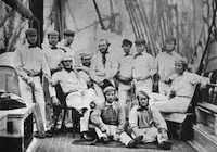 The first English touring team on board ship at Liverpool in 1859