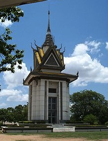 A commemorative stupa filled with the skulls of the victims at the Killing Field of Choeung Ek
