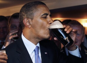Obama with a Guinness