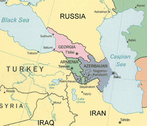 Map of modern day Armenia