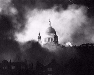 St. Paul's Cathedral surrounded by smoke in December 1940