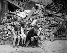 Children in an eastern suburb of London made homeless by the Blitz