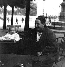 Gertrude Stein with Ernest Hemingway's son Jack in 1924