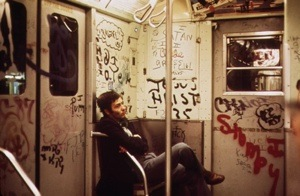 New York City subway car in the 1970s