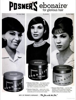 A 1964 advertisement for Posner Ebonaire hair care products