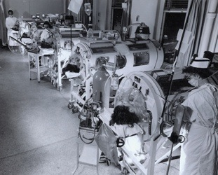 Polio iron lung ward at Haynes Memorial Hospital, Boston, Massachusetts, 1955