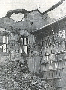 Bombing damage to the refectory that could have been worse if not for the reinforcements