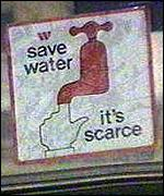 Signs encouraging water conservation