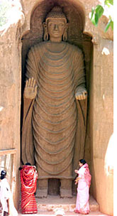A sixth-century Buddha statue at Bamiyan in Afghanistan