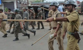 The lathi being used by police