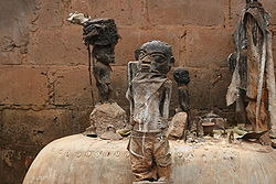 Voodoo altar with several fetishes in Abomey, Benin