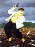 Artist Fernando Botero's painting of Pablo Escobar's death