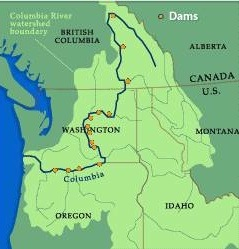 The path of the Columbia River