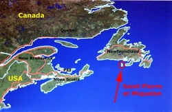 Saint-Pierre and Miquelon just off the Newfoundland coast