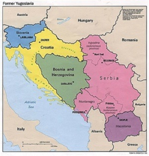 1993 map of the former Yugoslavia.