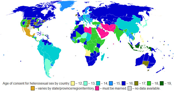 Map of Age of Consent