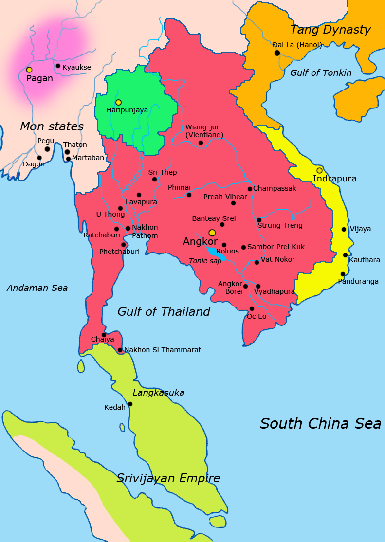 Khmer Empire in red