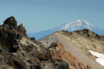 Mount Shasta, towering over the summit of Lassen Peak