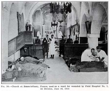Makeshift hospital at a church in Bezu-le-Geury, France, June 16, 1918