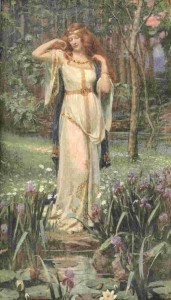 The Norse goddess Freya wearing her necklace Brísingamen