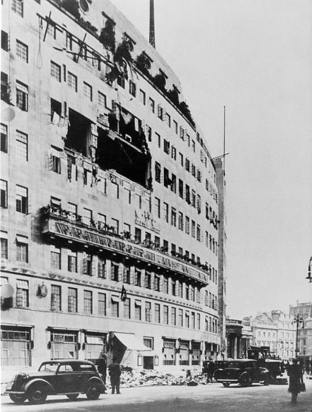 Exterior of BBC's Broadcasting House after bombing on 15 October, 1940