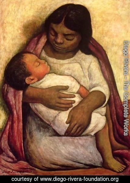 Delfina and Dimas, a painting of a mother and child by Diego Rivera