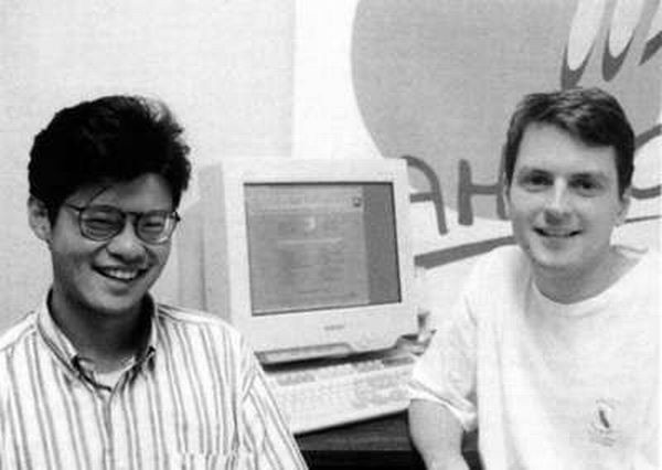 Jerry Yang and David Filo, creators of Yahoo, in 1994 while studying at Stanford