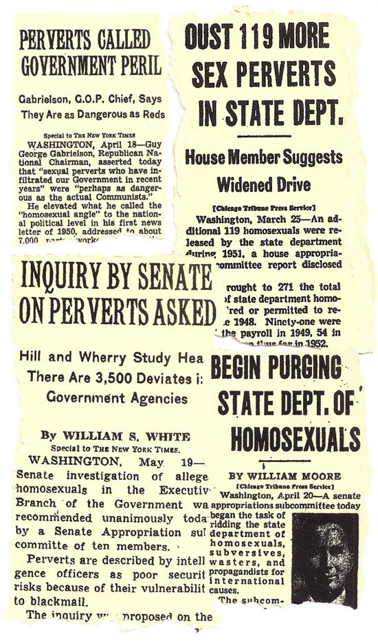 Newspaper headlines describing the purge of homosexuals from government jobs during the Lavender Scare