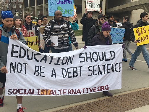 Students protesting education debt
