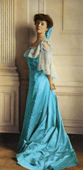 Alice Roosevelt as a young woman wearing an Alice blue gown