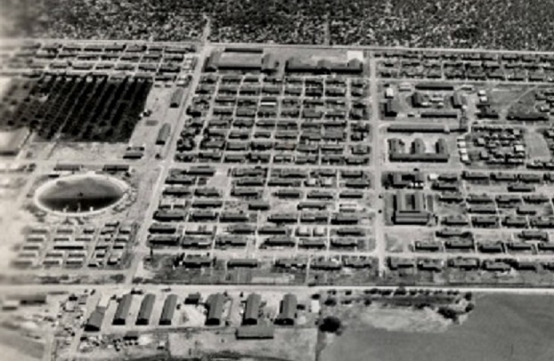 Overhead shot of Crystal City Internment Camp near Crystal City, Texas