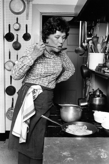 Celebrity chef Julia Child cooking