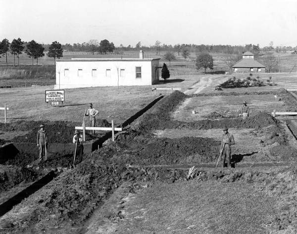 Black and white picture of Arthur G. Dozier School for Boys under construction in 1936