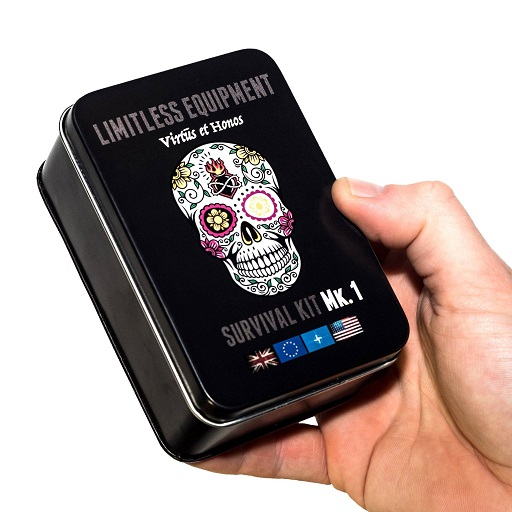 The Limitless Mark 1 Pro Survival Kit tin, black with skull design