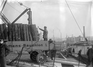 Materials Being Unloaded for Shannon Hydroelectric Scheme in 1925