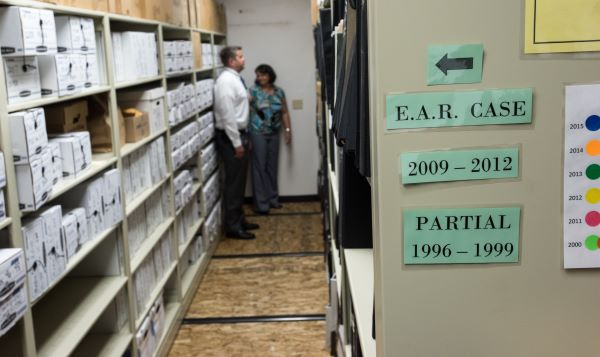 Evidence room storage for the Golden State Killer case