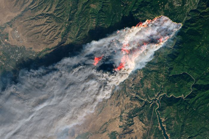 Satellite view of Camp Fire