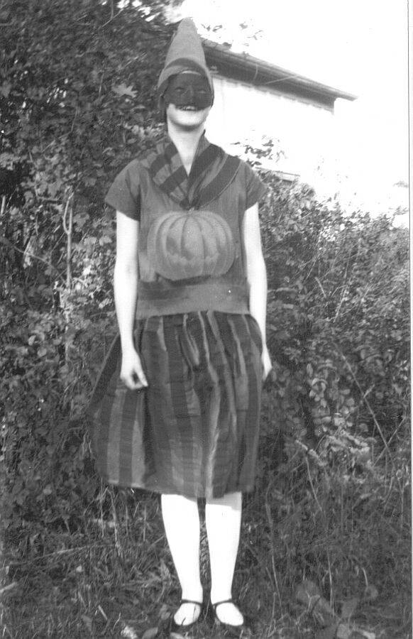 Girl in a Halloween costume in Ontario, 1928