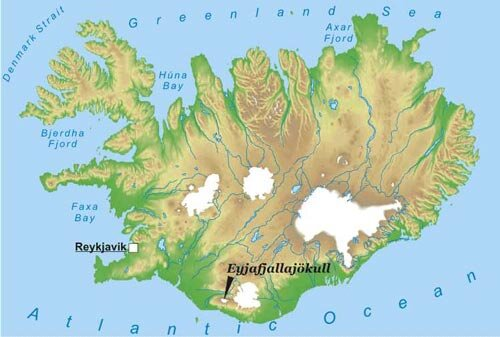 Map of Iceland showing Eyjafjallajökull volcanic site