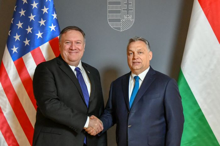 Mike Pompeo and Viktor Orbán meeting in Hungary, 2019