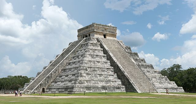 Maya temple of Kukulcán, a stone step pyramid in what is now the Yucatan state of Mexico