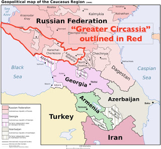 Map of the Caucasus/Circassian region