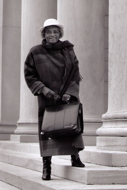 Black and white photo of Dovey Johnson Roundtree standing on courthouse steps