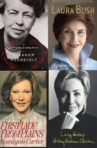 Covers of memoirs by First Ladies